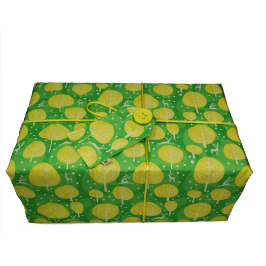 Large Crackle fabric wrap in Neon Yellow.  Shown wrapped.