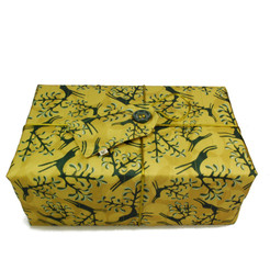 Large Crackle fabric wrap in Old Gold.  Pictured wrapping example gift.