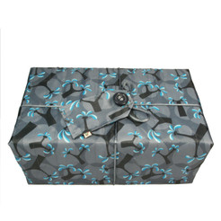 Large Crackle fabric wrap in Ocean Blue.  Shown wrapped.