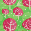 Fabric close-up - Christmas Winter Trees print in Neon Pink.