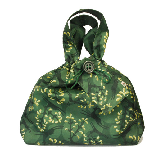 Medium fabric Gift Bag in Holly Green / Gold.  Used here to wrap a box (W23cm x H14cm x D14cm).