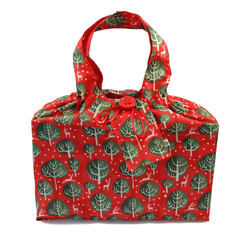 Large fabric Gift Bag in Red Berry.  Shown wrapping example gift.