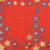 Fabric close-up - Starry Trees design in Cranberry Red.