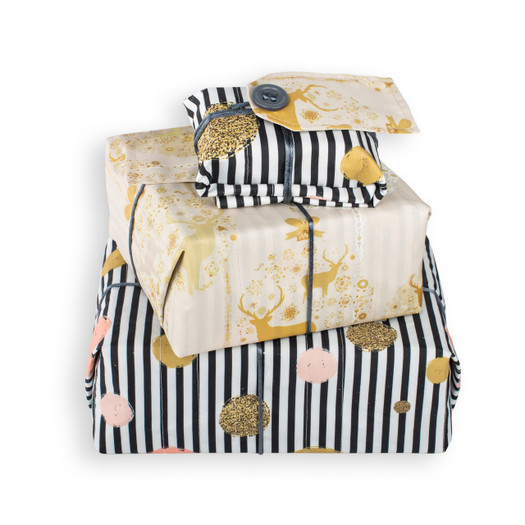 The same size wrap can be used for many sizes of gift without the needs for cutting or sticking AND can be used again and again..