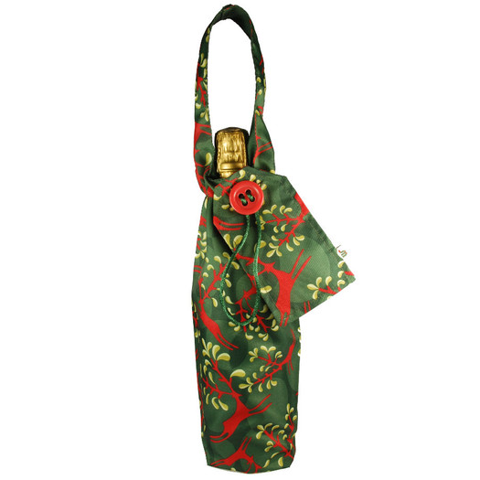 Bottle Bag in Holly Green / Red.  Shown with bottle (not included!)