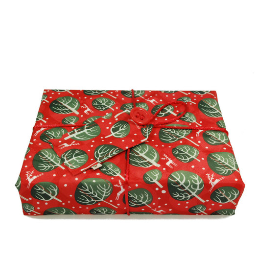 Medium Crackle in Berry Red.  Shown wrapping example gift.