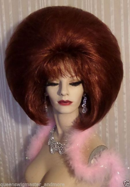 ff6d6a48646387 Drag Queen Wig Teased Out Double Huge Auburn Red Bob with Bangs ...