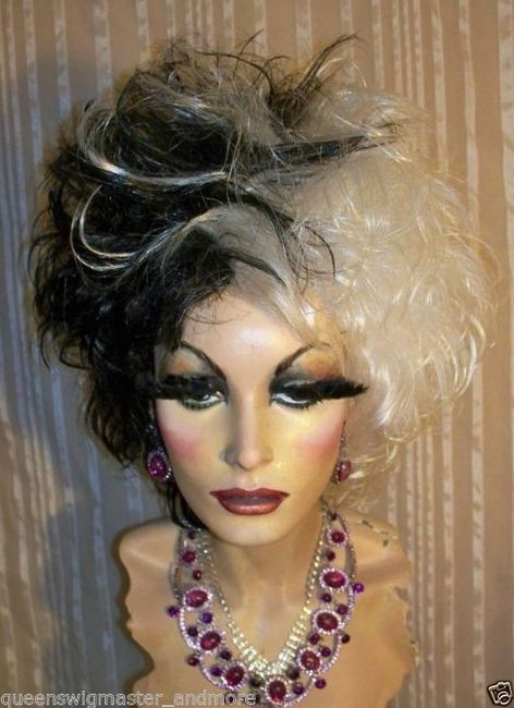 Drag Queen Wig Black And White Cruella De Ville Wig 1