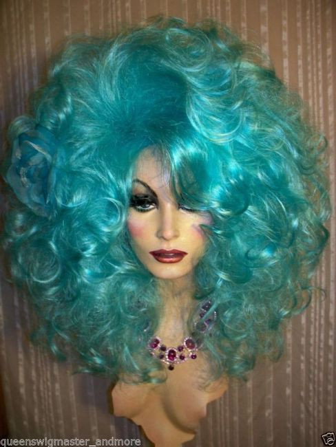 Drag Queen Wig Big Teased Extra Big Turquoise Teal Blue Long Curls ... 00f05a2dd