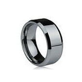 Men's Tungsten Ring with Beveled Edge (Non Faceted 8MM band) Steel Color. Also great as a men's wedding ring band.