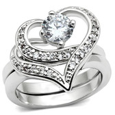 Womens Classy Carmen CZ Hearts - 2pc Engagement Ring Commitment Anniversary Ring (Silver Color)