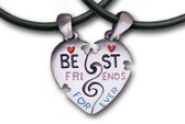 Two Piece Best Friends Forever (BFF) Set - 2 Pewter Pendants with 2 black PVC ropes/chains included!