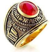 Marines - USMC Military Ring (Gold with Red Stone). United States Marines Corps Rings. Soldiers Veterans, etc.