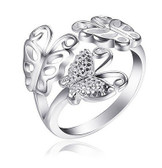 Womens Butterfly Ring - Adjustable - One Size Fits All (.925 Sterling Silver Electroplated Butterflies Ring)