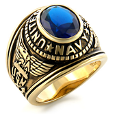 USN - Navy Military Ring (Gold with Blue Stone). United States Navy Rings. Navy Seals, Soldiers, veteran, etc.