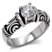 Womens Middle Stone Tribal Ring - Steel Love and Promise Ring / Commitment Marriage Engagements