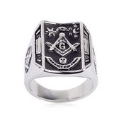 Freemason Ring / Masonic Ring Bent Rectangle Mason Design - Enamel & Steel Band. Masonic rings cheap