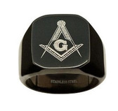 Black Freemason Ring / Masonic Rings for sale - 316L Stainless Steel Masonic Jewelry Band Free Mason Ring.