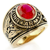 Army Ring - U.S. Armed Forces Military Ring (Gold with Red Stone). United States Soldiers, Veterans, etc.
