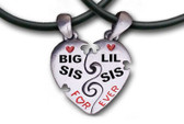 Two Piece - Big Sis & LiL Sis Necklaces - 2 Pewter Pendants with 2 black PVC ropes/chains included - Black and red text.