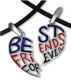 Two Piece - Dark Cut Out - Best Friends Forever (BFF) Set - Blue Black Red - 2 Pewter Pendants with 2 black PVC ropes/chains included!