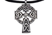 Halo Celtic Cross Pendant - Top Quality Black Pewter Pendant with PVC Rope chain included!