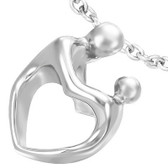 Womens Sculptured Heart Body Mother and Child Pendant - Silver Color Heart Pendant w/ chain necklace included!