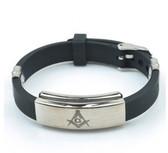 Freemason / Masonic Bracelet - Watch Style Black Rubber Mason Jewelry