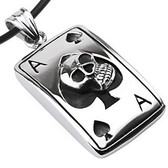 "Stainless Steel - Ace of Spades Skull Dog Tag - with 18"" PVC Rope"