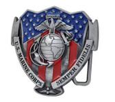 Marines - USMC Military Semper Fi - USA Flag Shield - Steel Belt Buckle