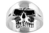 Stainless Steel - Skull Ring - Gothic Biker Ring 316L Steel Band