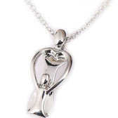 Womens Playful Mother and Child Pendant - Silver Color Pendant w/ chain necklace included!