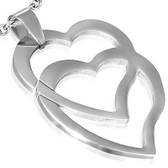 Womens Double Overlapping Hearts Pendant Necklace - Stainless Steel (Chain included)