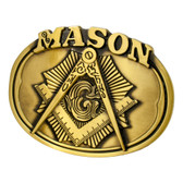 Freemason Belt Buckle / Masonic Buckle - Gold Tone Brushed Masonic Rounded