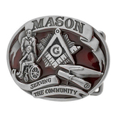 masonic buckle Serving The Community - Red Tone Freemason Belt Buckle / Masonic Buckle - Stainless Steel Brushed Masonic Rounded. Masonic Gifts.