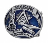 masonic belt buckles Serving The Community - Blue Tone Freemason Belt Buckle / Masonic Buckle - Stainless Steel Brushed Masonic Rounded. Masonic Gift.
