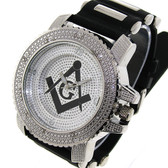 Masonic Watch - Black Silicone Band - Freemason Symbol - Black and Silver Face Dial Watch