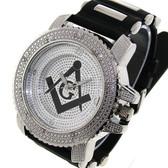 Masonic Watch - Black Silicone Band - Freemason Symbol - Black and Silver Face Dial Watch