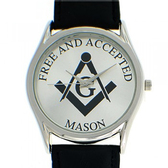 Masonic Watches - Free and Accepted Masons - Black Leather Band - White Face Dial - Freemasonry Symbolsim Watch
