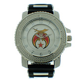 Shriner Watch - Black Silicone Band - Masonic Symbol - Black, White and Color Face Dial Watches