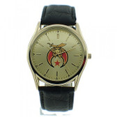 Masonic Shriner Watches on sale - Gold Face Black Leather Band - Colorful Masonic Symbol Dial Watch