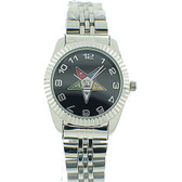 Order of the Eastern Star Masonic Watches - OES Symbol on Silver Color Steel Band - Black Face Dial