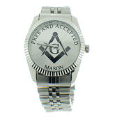 Masonic Watches for sale - Free and Accepted Masons - Silver Color Steel Band - Full Silver Face Dial Freemason Symbol Watch