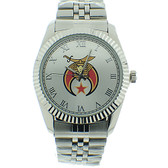 Shriner Watch - Freemason's Symbol on Silver Color Steel Band - Full Silver Face Dia