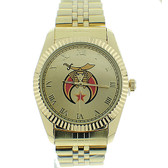 Shriner Watch - Freemason's Symbol on Gold Color Steel Band - Full Gold Face Dial