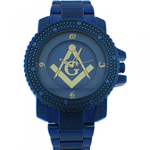 Masonic Watch for sale - Blue Metal Band - Free Masons Numerical Blue Face Gold Tone Dial Watch..