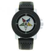 Order of the Eastern Star Watch - Black Silicone Band - OES Symbol - CZ Bling Face Dial Watch