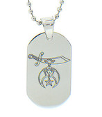 Shriner Pendant - Silver Color Steel with Masonic Order Symbol Necklace with chain