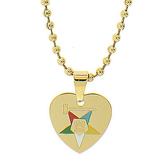 Order of the Eastern Star Heart Shaped Pendant - Gold Color Steel with OES Symbol Necklace