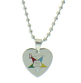 Order of the Eastern Star Heart Shaped Pendant - Silver Color Steel with OES Symbol Necklace